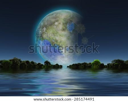 Terraformed Moon seen from Earth - stock photo