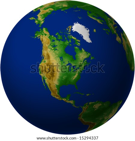 Terrain Globe with North America view
