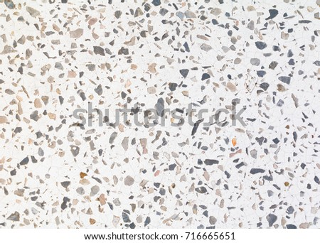 Terrazzo Flooring Pattern Old Texture Small Stone Black And Crack Cement White Background With Copy Space