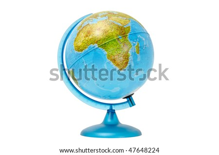 terrestial global isolated on a white background - stock photo