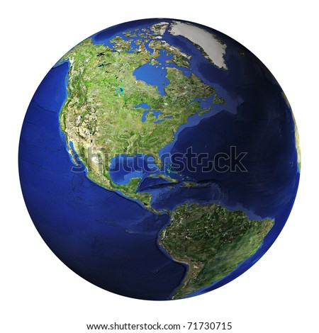 Terrestrial globe. America side. Clipping path included. - stock photo