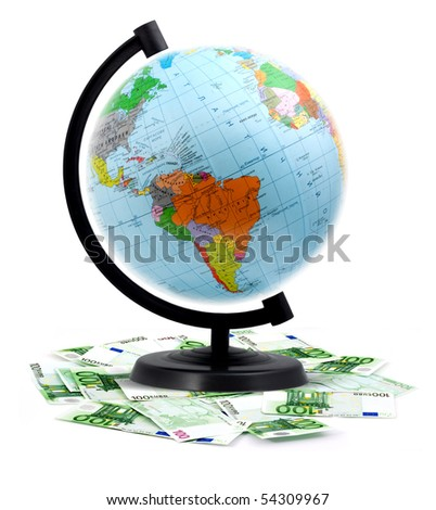 Terrestrial globe isolated on a white background - stock photo