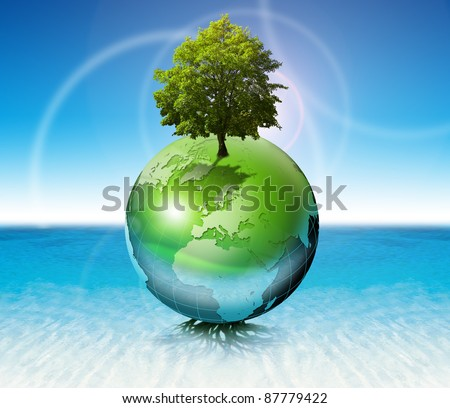 Terrestrial globe on the water with roots and tree, the concept of ecology and purity - stock photo