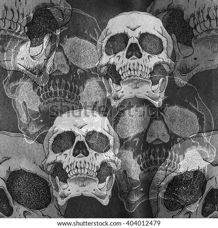 Terrible frightening seamless pattern with skull on a antique grunge background - stock photo
