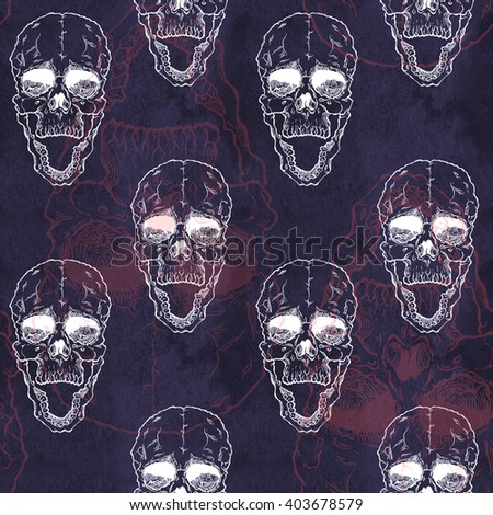 Terrible frightening seamless pattern with skull on antique grunge background. Halloween illustration - stock photo
