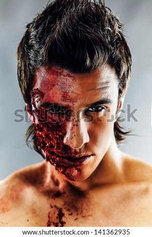 Terrible make-up on a Halloween - stock photo