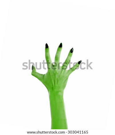 Terrible monster hand to create a collage on the theme of halloween, on white - stock photo