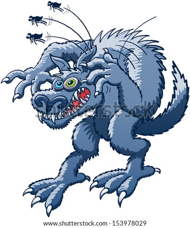 Terrific werewolf in trouble while experimenting a big desperation, scraping its ear with its claw to relieve itching and getting rid of the three huge and monstrous fleas that were attacking it - stock photo