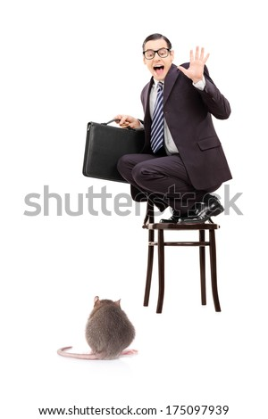 Terrified businessman holding briefcase standing on a chair and screaming isolated on white background - stock photo