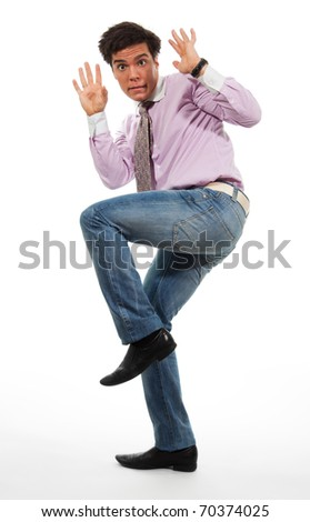 terrified man surrender wearing jeans, shirt and tie, isolated on white