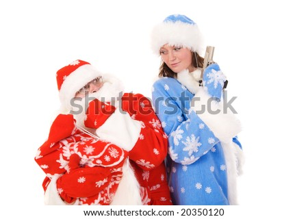 Terrified santa and snow maiden with gun.