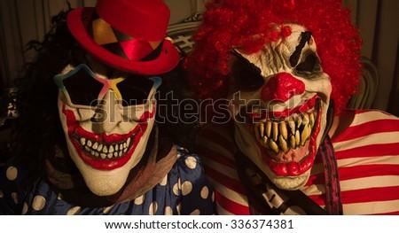Terrifying mask of clowns. Happy Halloween. - stock photo