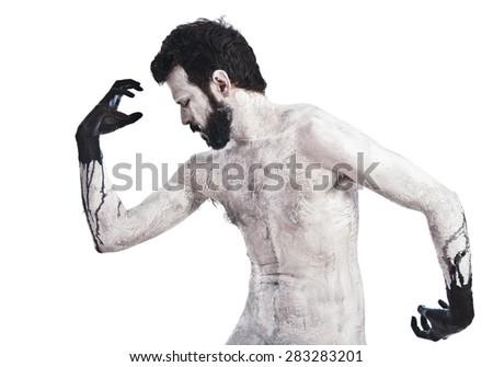 Terrifying Vampire over white background - stock photo