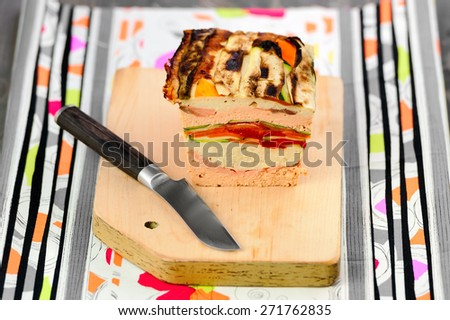 terrine of fish with grilled vegetables - stock photo