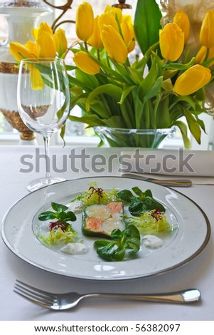 terrine of sea scallops and salmon - stock photo