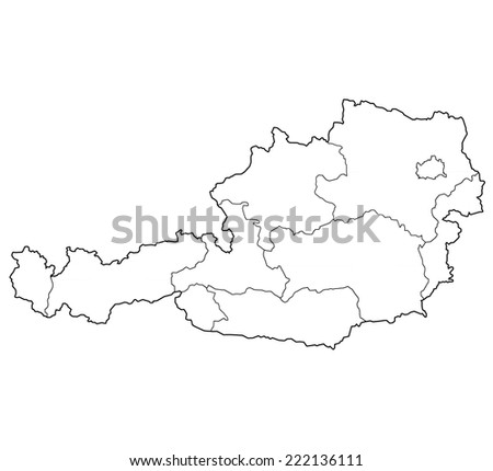 territories of regions on map of austria with administrative divisions - stock photo