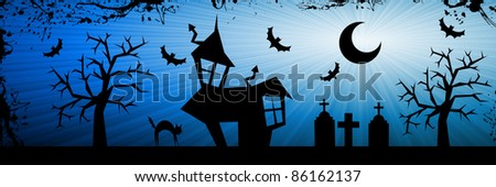 Terror night halloween background with house, cat, tombs and trees.