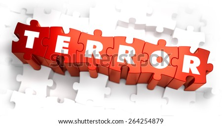 Terror - White Word on Red Puzzles. Selective Focus. 3D Render. - stock photo