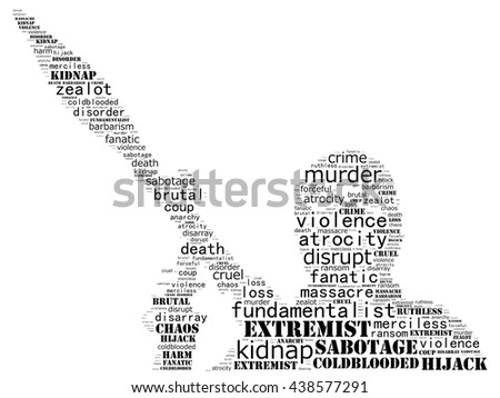 Terrorism concept in word collage: white background