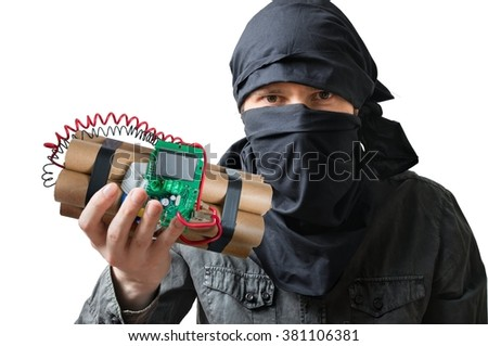 Terrorism concept. Terrorist holds dynamite bomb in hand. Isolated on white background. - stock photo