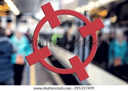 Terrorism Concept. Transport Target, Red Crosshairs. Terror Threat - stock photo