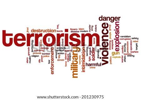 Terrorism concept word cloud background - stock photo