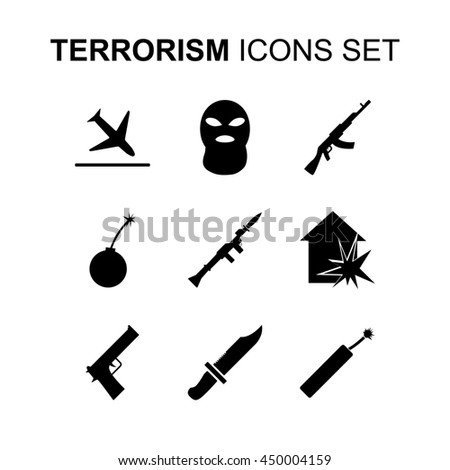 Terrorism icons set. Silhouette illustration