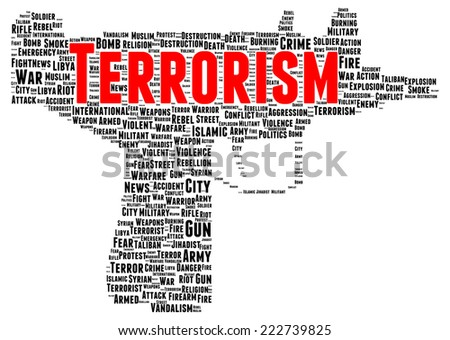 Terrorism word cloud shape concept - stock photo