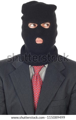 terrorist Business man, figure on a white background. - stock photo