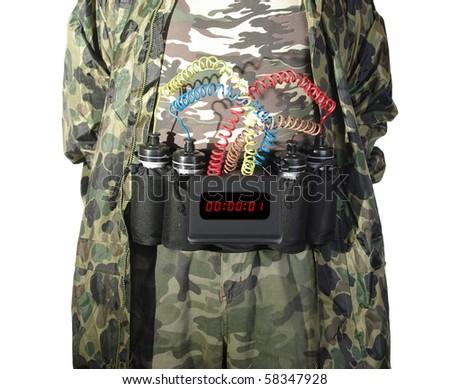 terrorist from explosive load on belt - stock photo