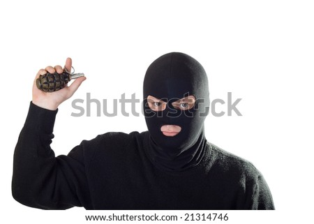 Terrorist in black mask with grenade. Isolated on white.