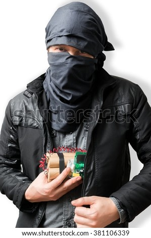 Terrorist puts dynamite bomb in jacket. Terrorism concept. Isolated on white. - stock photo