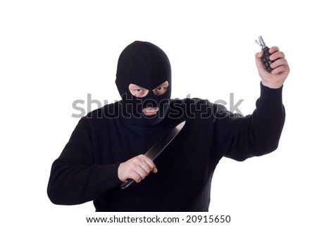 Terrorist with big knife and hand grenade. Isolated on white.