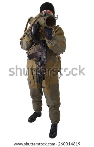 terrorist with kalashnikov rifle with under-barrel grenade launcher isolated on white background
