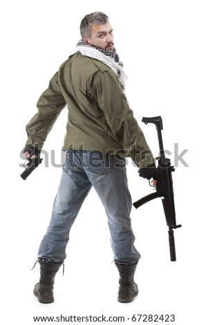 Terrorist with rifle, isolated on white background - stock photo