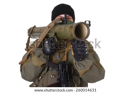 terrorist with RPG rocket launcher  isolated on white