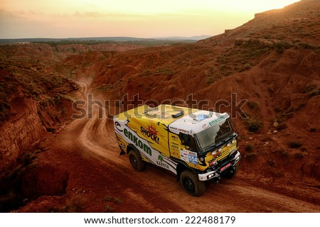 TERUEL, SPAIN - JUL 19 : Slovak driver Martin Macik and his codrivers Marian Orlicky and Jakub First in a Liaz 111.154 race in the XXXI Baja Spain, on Jul 19, 2014 in Teruel, Spain. - stock photo