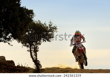 TERUEL, SPAIN - JUL 19 : Spanish rider Laia Sanz in a Honda CRF 450X races in the XXXI Baja Spain, on Jul 19, 2014 in Teruel, Spain. - stock photo