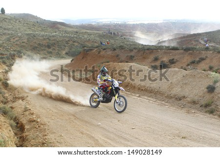 TERUEL, SPAIN - JULY 19 : Spanish motorcycle rider Oriol Escale in a Husqvarna TE 449, race in Baja Spain, on Jul 19, 2013 in Teruel, Spain. - stock photo