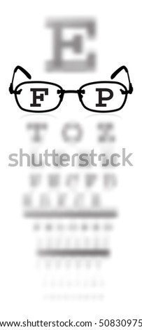 test alphabet in oculist room with glasses - stock photo