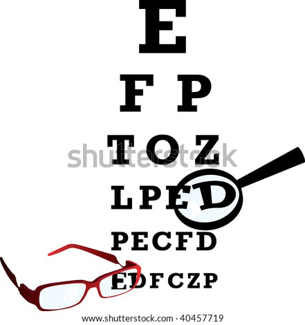 Test alphabet in oculist room with glasses and loupe. - stock photo