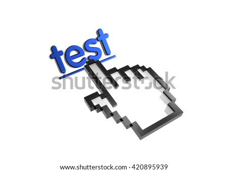 test. 3d rendered inscription. Link and finger, pointer. Isolated on white - stock photo
