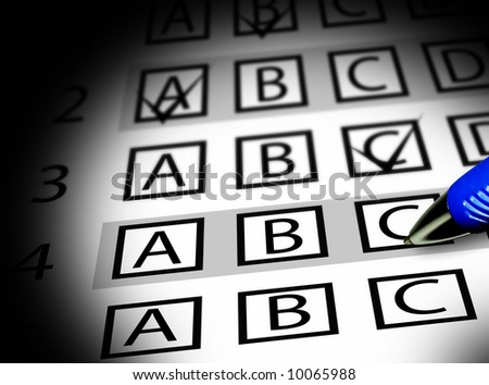 Test exam sheet with multiple choices