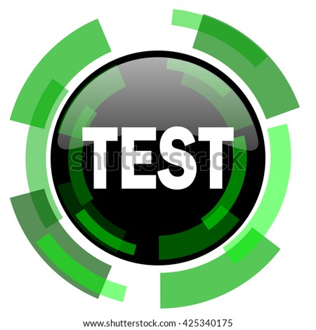 test icon, green modern design glossy round button, web and mobile app design illustration