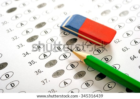 Test score sheet with answers - stock photo