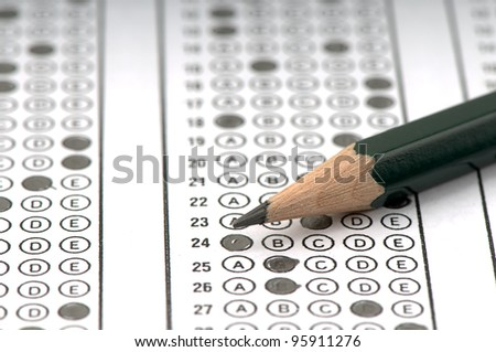 Test score sheet with answers. - stock photo