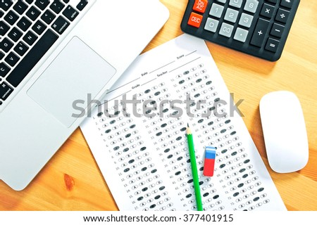 Test score sheet with answers. Education concept - stock photo