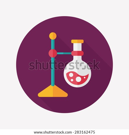 test tube flat icon with long shadow - stock photo