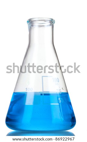 Test-tube with blue liquid isolated on white - stock photo