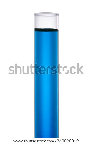 Test Tube with Blue Liquid isolated on White Background. Laboratory glassware equipment. Front View